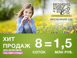 Поселок «Нескучный сад», 37-й км Новорижского ш. 8 сот. = 1,5 млн рублей!